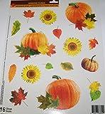 Greenbrier Fall Harvest Reusable Glitter Window Clings ~ Sunflowers, Leaves, Pumpkins, Gourds (16 Clings, 1 Sheet)