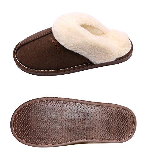 OSHOW Womens Slipper, Fluffy Slip On House Slippers Clog Soft Indoor Outdoor Slipper For Winter B Model-deep Brown