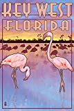 Key West, Florida - Flamingos (12x18 Art Print, Wall Decor Travel Poster)