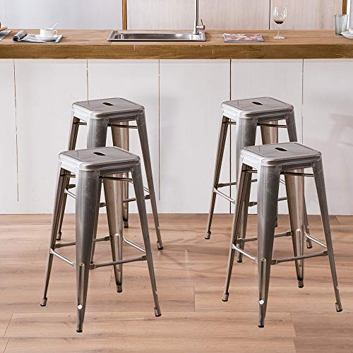 Romatlink Metal Stackable High Counter Dining Chair 4pcs with A Hole, Multi-Purpose Dining Stool for Meeting Room, Restaurant, Kitchen,Outdoor Barbecue, Etc.Dining Stool Stainless Steel