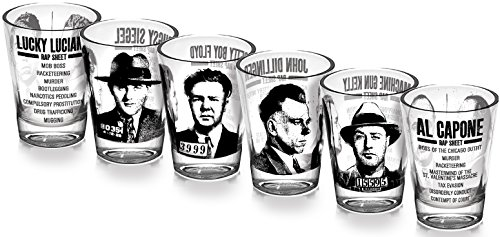 Mug Shots - 6 Piece Shot Glass Set of Famous Gangster Mugshots - Comes in a Colorful Gift Box - http://coolthings.us
