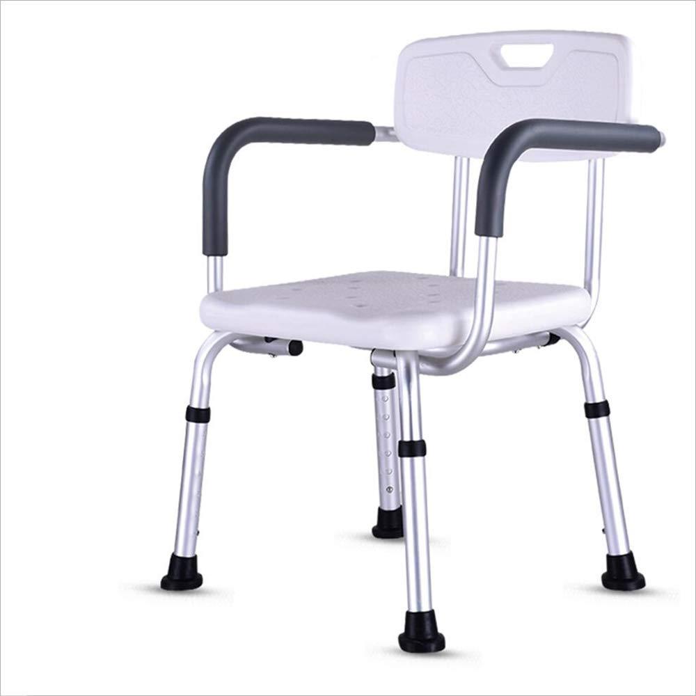 フロン家具 浴室のシャワーチェア/シート背もたれの安全シートのホワイトで調整可能なアンチスキッドの高さ   B07LCML7HW