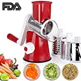 Manual Speedy Rotared Vegetable Cuber Fruit Cheese Nut Slicer Cutter Shredder Grinder Spiralizer,Hand Crank Dicer Chopper Veggie Pasta Salad Maker with 3 Changeable Stainless Steel Rotary Blades (Red)
