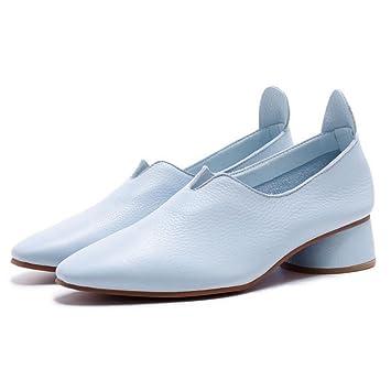 GAOLIXIA Zapatos de tacón Alto de Cuero de Las Mujeres Bombas de Primavera y Verano Zapatos Casuales Mocasines Sandalias de tacón Medio Zapatos de la Corte: ...