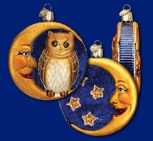 Old World Christmas OWL & Crescent Moon Classic Vintage-style Halloween Ornament -