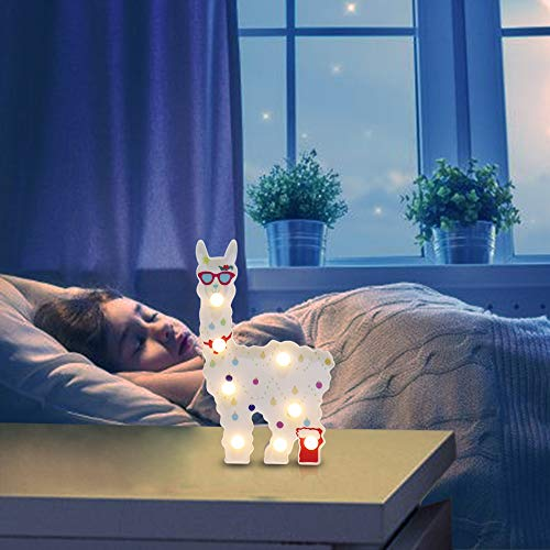Owlbbabies Llama Gifts Decorative Alpaca Led Night Light Battery Operated Llama Decorations for Kids Bedroom, Party, Nursery and Baby Shower (Llama Glasses) (Jar Cookie Llama)