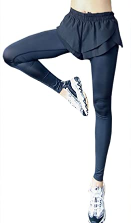 aa25ca38 YYG Women Sports Yoga Elastic Waist Shorts Quick Drying Two False Pieces  Yoga Legging Pants Black
