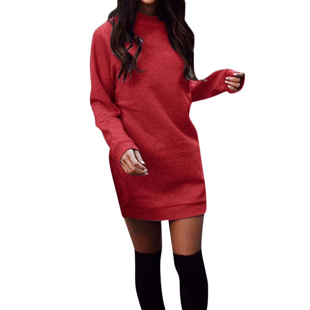 Geetobby Women Sweatshirt Dress Round Neck Long Sleeve Plus Velvet Mini Dress
