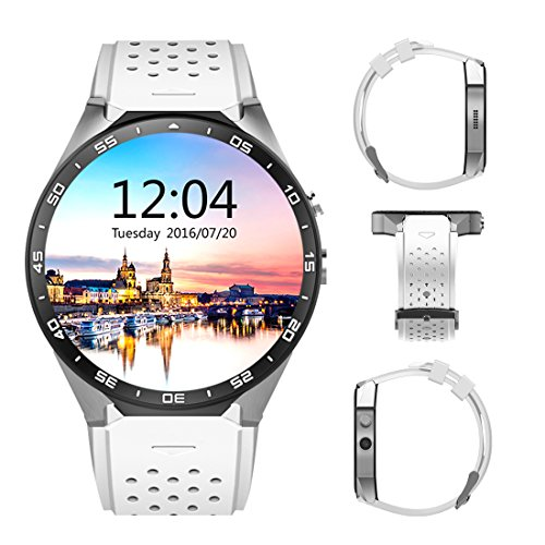3G Smart Watch, Android 5.1 OS, Quad Core support 2.0MP Camera Bluetooth SIM Card WiFi GPS Heart Rate Monitor (White+Silver) by Kingwear