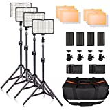 LED Video Light Kit with Stand, SAMTIAN 160 Dimmable Photography Lighting Set for YouTube Video Studio Shooting, 3200/5600K, Including Rechargeable Batteries,Tripod,Carry Bag