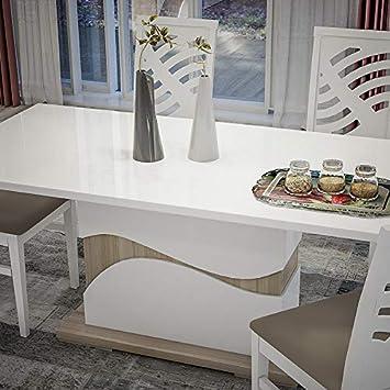 NOUVOMEUBLE Table à Manger Moderne Blanc laqué et Couleur ...