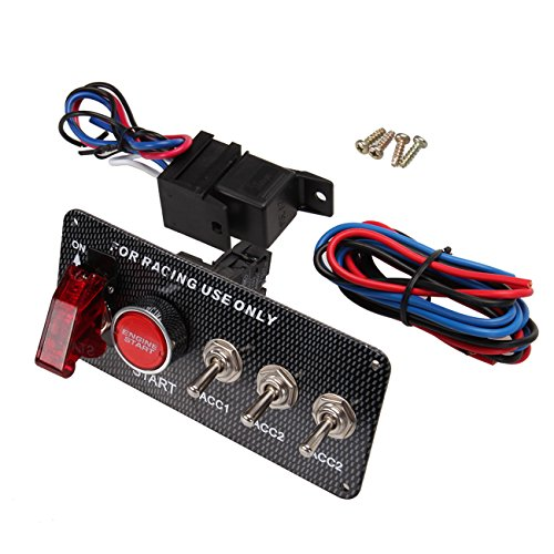 (Iglobalbuy 12V Racing Car Engine Start Push Button Ignition Switch Panel 5 in 1 LED Toggle)