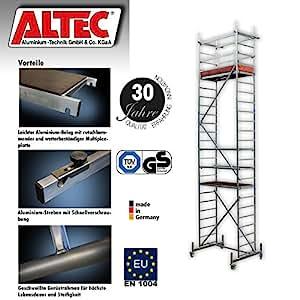 Altec ROLLFIX 700, altura de trabajo, 7m, incluye ruedas, traviesa móvil y anclaje a la pared, certificación TÜV.