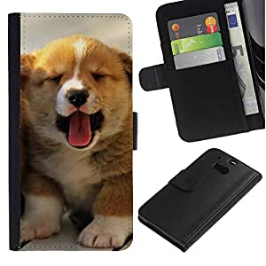 Puppy Yawn Tongue Australian Shepherd - la tarjeta de Crédito Slots PU Funda de cuero Monedero caso cubierta de piel HTC One M8