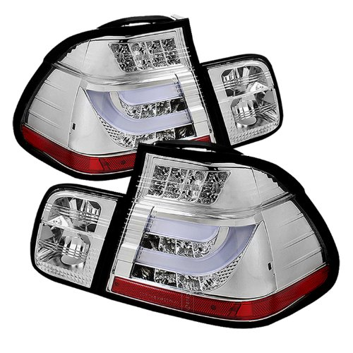 Spyder Auto ALT-YD-BE4602-4D-LBLED-C BMW E46 3-Series 4-Door Chrome Light Bar Style LED Tail Light