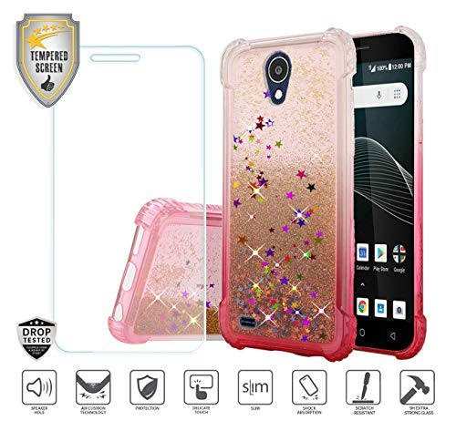 Compatible for At&t Axia QS5509a Case, Cricket Vision Case, with Tempered Glass Screen Protector, Premium Design Case for Women Girl Liquid Water Glitter Hybrid Tough TPU [Shockproof] (Hot Pink) ()