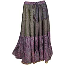 Mogul Interior Womens Long Skirt Vintage Recycled Sari Belly Dance Gypsy Full Flare Swirling Maxi Skirts S/M/L