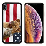 MSD Apple iPhone Xs Case Aluminum Backplate Bumper Snap Case Image ID: 4904845 Proud American Pets with US Flag in as Background Focus on cat