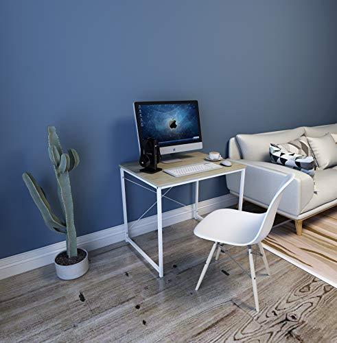 WOLTU Bureau d'ordinateur Table de Travail en aggloméré et Acier Table de Bureau, 80x60x70cm, Blanc+Chêne Clair…