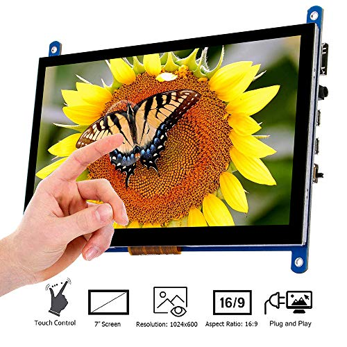 7 Inch Touch Screen Monitor Display HD 1024x600 Driver Free Plug and Play Capacitive Touch for Raspberry Pi,Computer,TV Box,DVR,Game Device