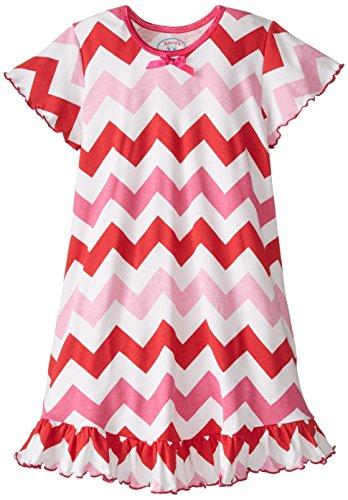 Sara's Prints Big Girls'  Little Girls'  Short Sleeve Nightie, Red/Pink Chevron, 14