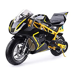Electric Pocket Bike MotoTec 36V 500w Motor Dirt Pit Bike,Kids Mini Motorcycle, Battery WERCS Certificate Scooter for Boys and Girls,Yellow,Non California Approved