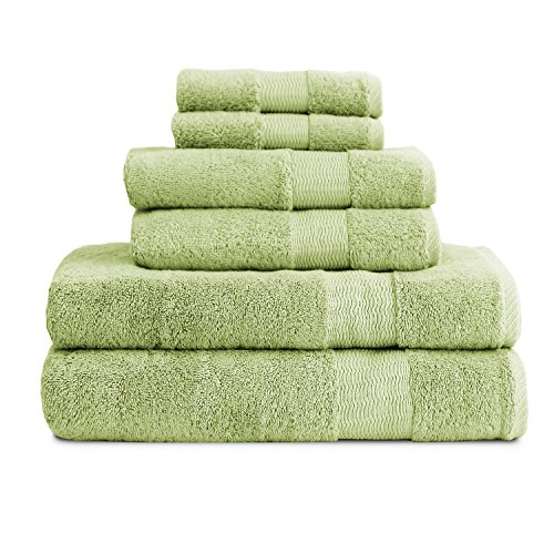 Luxor Linens - 6-Piece Bathroom Towel Set - Bamboo Collection - Super Soft & Fade Resistant Egyptian Cotton - Available in Various Colors - Aloe