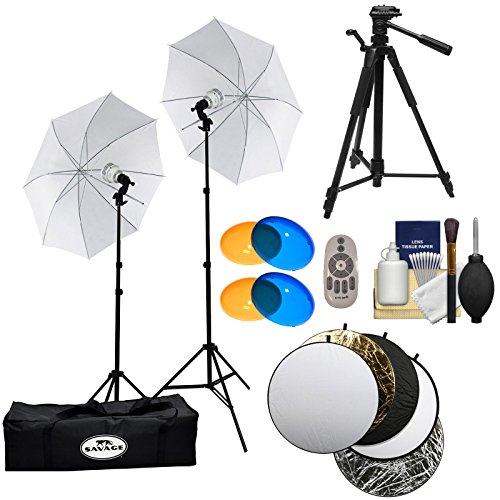 Savage LED60K 500 Watt LED Studio Light Kit with 2 Lights, 2 Stands, 2 Umbrellas, Remote, 2 Warming & 2 Cooling Domes, Case + Reflector Disks + Tripod