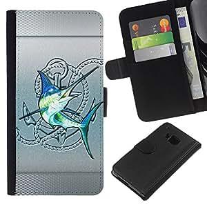HTC One M9 , la tarjeta de Crédito Slots PU Funda de cuero Monedero caso cubierta de piel ( Silver Sailfish Fishing Club Blue Fish)