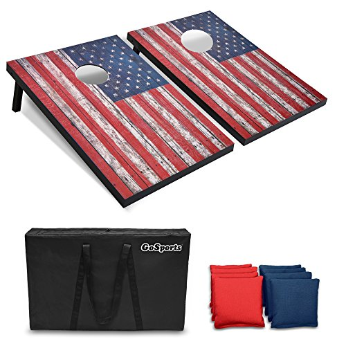 (GoSports Classic Cornhole Set - Includes 8 Bean Bags, Travel Case and Game Rules (Choose Between Classic, American Flag, and Football Designs))