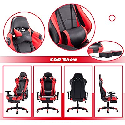 Killbee Ergonomic Gaming Chair with Footrest Large PVC Reclining Computer Chair Swivel Leather Executive Office Chair, with Headrest Lumbar Support