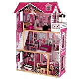 KidKraft Amelia Wooden Dollhouse with Elevator, Balcony and 15-Piece Accessories, Pink ,Gift for Ages 3+