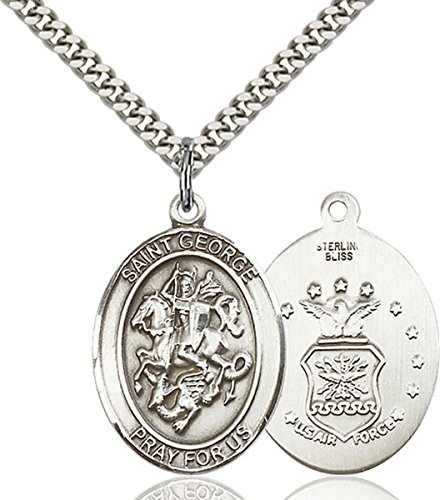 Sterling Silver Saint George Air Force Medal Pendant, 1 -