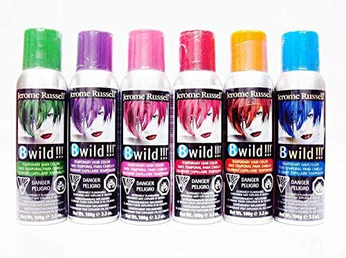 Jerome Russell B Wild Temp'ry Hair Color Spray 3 OZ 6 pack -- (Bengal Blue, Jaguar Green, Tiger Orange, Panther Purple, Lynx Pink, Cougar Red)
