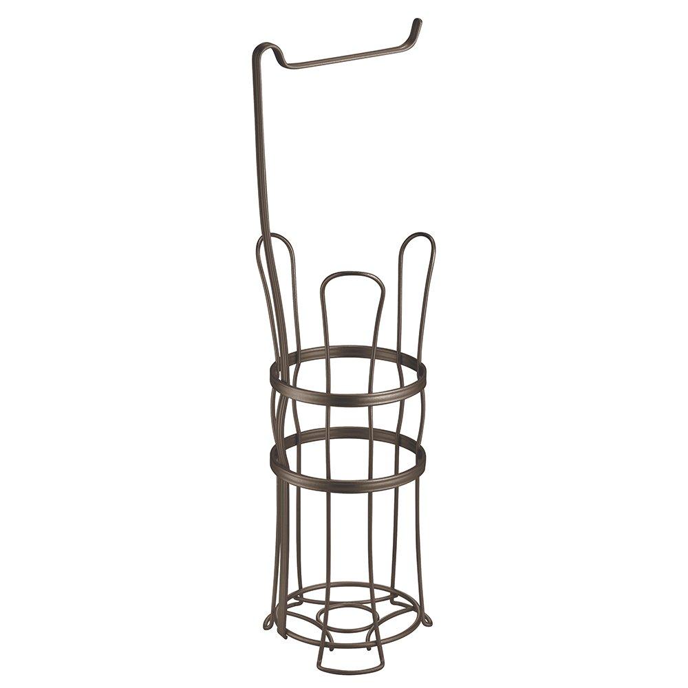 mDesign Free Standing Toilet Paper Roll Holder for Bathroom Storage - Bronze