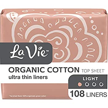 La Vie Organic Cotton Top Sheet* Panty Liners, Ultra Thin, 108 Count (3 Bags of 36)