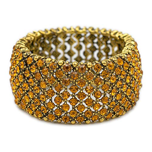 Lavencious Tennis Rhinestone Stretch Bracelets Bridal Evening Party Jewelry for Woman Bangle (Antique Gold Plated - -