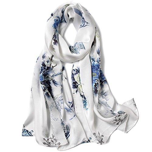 Smi&Love Women's Head Scarf Mulberry Silk Scarf Ladies Floral Print Satin Headscarf (Rznh 4)