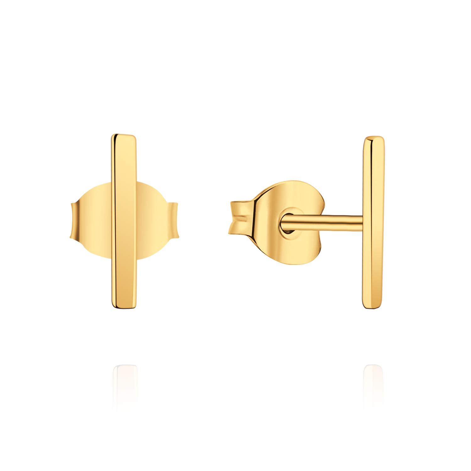 YL Women's Bar Earrings Sterling Silver Tiny Stud Earrings White/Rose/Yellow Gold Jewelry YL Jewelry NE9830DB2