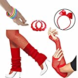 80s Accessories Women Fancy Outfit Set,Headband,Earrings,Gloves,Bracelets,Fishnet,Leg Warmers (Red)