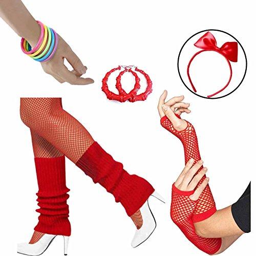 80s Accessories Women Fancy Outfit Set,Headband,Earrings,Gloves,Bracelets,Fishnet,Leg Warmers (Red) by HUALIL