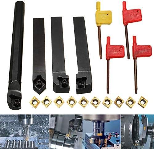 GENERICS LSB-Werkzeuge, 10 stücke CCMT09T304 Hartmetalleinsatz + 4 stücke Drehwerkzeughalter Set + 4 stücke Schraubenschlüssel for Drehwerkzeug Werkzeugmaschinensätze
