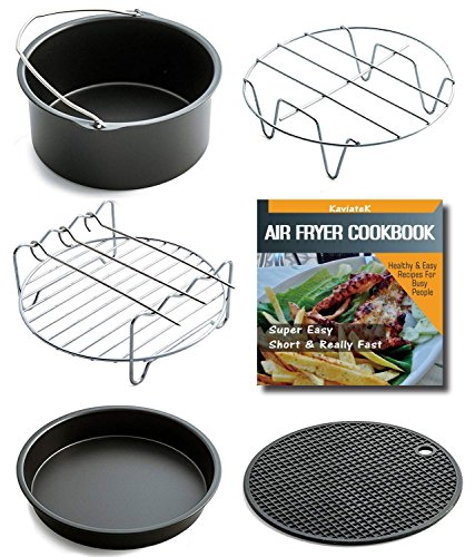 Air Fryer Accessories For Gowise Philips And Cozyna, Fits All 3.7QT - 5.8QT, Non-stick Barrel/Pan + Metal Holder + Multi-Purpose Rack with Skewers and Silicone Mat, Cookbook Included