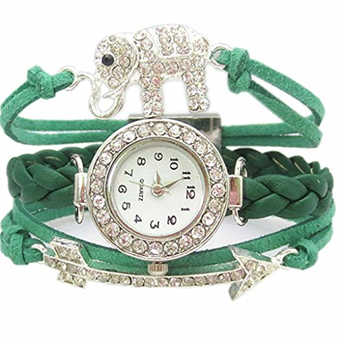 Deepon Fashion Vintage Cool Charms Ladies Leather Unique Gothic Infinite Love Cross Star Infinity Elephants Butterfly Arrow Rhinestone Leather Bracelet Quartz Watches - A Variety of Styles