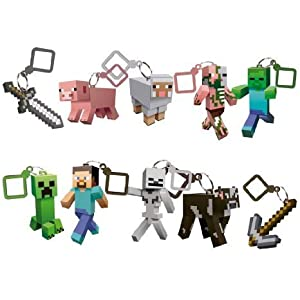 J!NX Minecraft Toy Action Figure Hanger Set Kingfansion (3-Inch 10-Piece) Series 1
