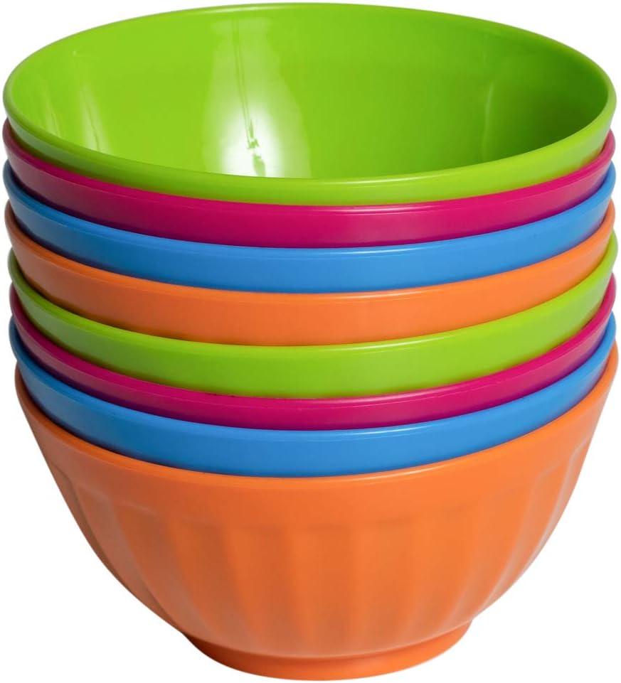 Klickpick Home Set Of 8-28 Ounce Plastic Bowls For Cereal, Soup, Ice Cream, Salad, Pasta, Fruit l 4 Classic Colors l Dishwasher Safe