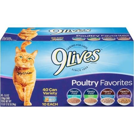 512mH2Pyx2L - 9Lives Poultry Favorites Wet Cat Food Pate & Cuts Variety Pack, 5.5-Ounce Pack(40) With Real Chicken & Tuna Pate, Real Chicken Pate, Cuts Chicken & Salmon, Cuts With Real Turkey & Cheese