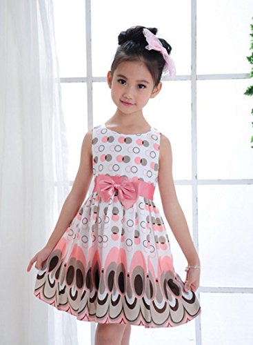 Simple Ethnic Costumes (Kids Dress, Hometom Bow Belt Sleeveless Bubble Peacock Dress Party Clothing Outfits (4T, Pink))