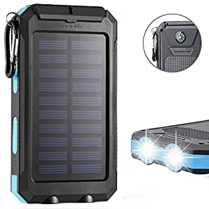 F.Dorla 20000mAh Power Bank Solar Charger Waterproof Portable External Battery USB Charger Built in LED light with Compass for iPad iPhone Android cellphones, 9 Colors Avaliable (Black+Blue)