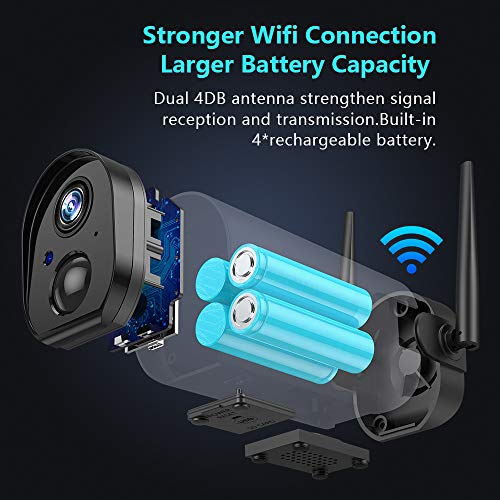 Wireless Outdoor WiFi Security Camera, Rechargeable Battery-Powered Home Security Camera, 1080P Night Vision/Waterproof, PIR Motion Detection, 2-Way Audio, Compatible with Cloud Storage/SD Slot
